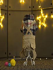犬 ジャンプスーツ 犬用ウェア カジュアル/普段着 格子柄 Brown