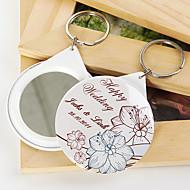 Porte-clés personnalisé miroir - fleurs (lot de 12)