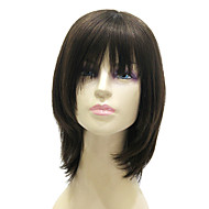 sem tampa médio longo preto de seda peruca de cabelo 100% humano direto