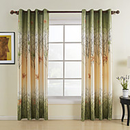 AnTi™ One Panel Grommet Top  Green Maple Leaf Energy Saving Curtain