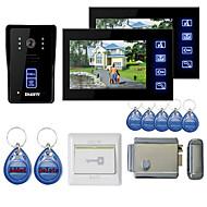 """7 """"cores mãos livres video porta telefone com 2 monitores visão noturna rfid keyfobs bloqueio de controle eletrônico"""
