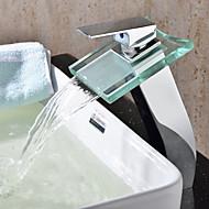 Nykyaikainen Moderni Pesuallas Vesiputous with  Keraaminen venttiili Yksi reikä Yksi kahva yksi reikä for  Kromi , Kylpyhuone Sink hana