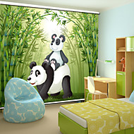Lovely Cartoon Style Father Panda & Baby Panda With Bamboo Roller Shade