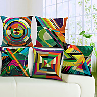 conjunto de 5 geométrico colorido algodão / linho capa almofadas decorativas