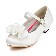 Para Meninas Saltos Conforto Cetim Primavera Verão Outono Inverno Casamento Conforto Pérolas Rasteiro Marfim Branco Vermelho RosaRasteiro