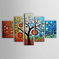 Ručno oslikana Cvjetni / Botanički Bilo koji oblik Pet ploha Platno Hang oslikana uljanim bojama For Početna Dekoracija