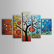 Hånd-malede Blomstret/Botanisk Alle Former Fem Paneler Kanvas Hang-Painted Oliemaleri For Hjem Dekoration