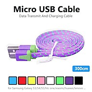 3m v8 Micro USB упорство нейлон кабель для передачи данных для Samsung лапши и других телефонов (ассорти цветов)