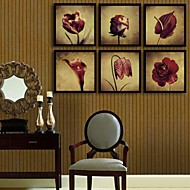 Bloemenmotief/Botanisch Ingelijst canvas / Ingelijste set Wall Art,PVC Zwart Zonder passepartout met Frame Wall Art