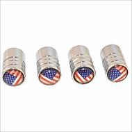 diy american flag Muster Universalreifenluftventilkappen - Silber (4 Stück)