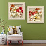 Floral/Botânico Quadros Emoldurados / Conjunto Emoldurado Wall Art,PVC Beje Sem Cartolina de Passepartout com frame Wall Art