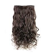 24 polegadas 120g longa mais sombrio fibra sintética resistente ao calor clipe encaracolado castanho em extensões de cabelo com 5 clips