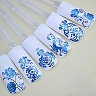 1x 108 db 3D kék virág köröm matricák