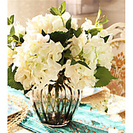 Five White Hygrangeas Artifical Flowers With Grey Vase