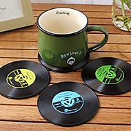1pc מחצלת כוס בר משקאות שולחן תקליטור מגניב רכבת ויניל בציר (צבע ramdon)