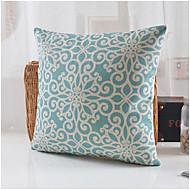 blauw bloesem patroon katoen / linnen decoratieve kussensloop