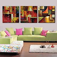 pintura a óleo decoração mão telas pintadas abstrato com esticada enquadrado - conjunto de 3