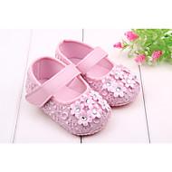 Mädchen Baby Flache Schuhe Lauflern Frühling Herbst Normal Kleid Lauflern Strass Klettverschluss Schwarz Weiß Rosa