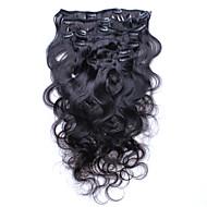 clip ihmisen hiusten pidennykset Brasilian kehon aalto leikkeen hiusten pidennykset hiuksista 7pcs / paljon 120g 6a arvosana