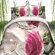 Ensembles housse de couette Fleur 4 Pièces Polyester/Coton Imprimé Polyester/Coton 1 pièces (1 housse de couette, 1 drap, 2 housses