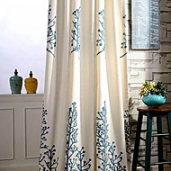 Two PanelCountry Embroidery Trees Cotton Energy Saving Curtains Drapes