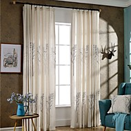 (Two Panels)Beige Trees Printed Linen Polyester Blend  Curtain