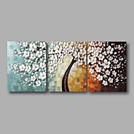 Ručno oslikana Sažetak Cvjetni / Botanički Horizontalna Panoramski,Moderna Tri plohe Hang oslikana uljanim bojama For Početna Dekoracija