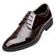 Masculino sapatos Couro Envernizado Primavera Verão Outono Inverno Conforto Sapatos formais Oxfords Cadarço Pregueado Para Casual Preto