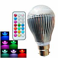 9W B22 LED kulaté žárovky A60(A19) 3 High Power LED 500 lm R GB Stmívací / Dálkové ovládání / Ozdobné AC 100-240 V 1 ks