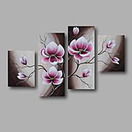 Ručno oslikana Sažetak Cvjetni / Botanički Bilo koji oblik,Moderna Četiri plohe Platno Hang oslikana uljanim bojama For Početna Dekoracija