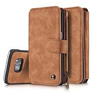 Para Samsung Galaxy S7 Edge Case Tampa Porta-Cartão Carteira Flip Corpo Inteiro Capinha Cor Única Rígida Couro Legitimo para SamsungS8 S8