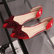 Feminino Sapatos Courino Verão Rasteiro Tachas Gliter com Brilho Para Social Preto Cinzento Vermelho Rosa claro