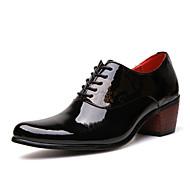 Masculino sapatos Couro Envernizado Primavera Verão Outono Inverno Conforto Oxfords Rendado Cadarço Para Casual Festas & Noite Preto Azul