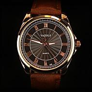 YAZOLE Pánské Náramkové hodinky Křemenný Kůže Kapela Černá Hnědá