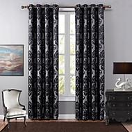 Jedna ploča Europska Cvjetni / Botanički Crn Bedroom Polyester Blackout Zavjese Zavjese