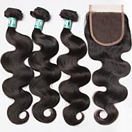 Trama do cabelo com Encerramento Cabelo Brasileiro Onda de Corpo 3 Peças tece cabelo