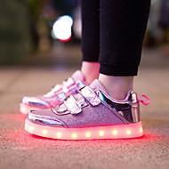女の子 スニーカー チュール 化繊 夏 秋 LED 面ファスナー フラットヒール ゴールド シルバー ピンク フラット