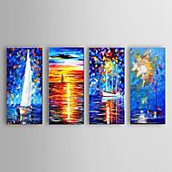 Maalattu Abstrakti / Maisema / Asetelma / Abstraktit maisemakuvatModerni 4 paneeli Kanvas Hang-Painted öljymaalaus For Kodinsisustus