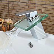 Moderni Integroitu Vesiputous with  Keraaminen venttiili Yksi kahva yksi reikä for  Kromi , Kylpyhuone Sink hana
