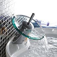 Moderni Pesuallas Vesiputous with  Messinkiventtiili Yksi kahva yksi reikä for  Kromi , Ammehana / Kitchen Faucet / Kylpyhuone Sink hana
