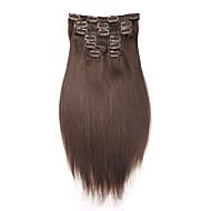 """16 """"-22""""인간의 머리카락 확장 7PCS 클립 / 100g 스트레이트 헤어 브라질 인간의 머리카락 확장"""