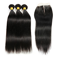 Hår Veft Med Lukker Brasiliansk hår Kinky Krøllet 4 deler hår vever
