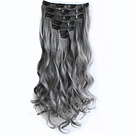 Gray Clip in Hair Extensions 7pcs/set 22inch 56cm Long Hairpiece Curly Wavy Heat Resistant Synthetic Hair Extension