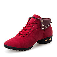 Women's Dance Shoes Leather Leather Dance Sneakers / Modern Boots / Sneakers Flat Heel Practice /