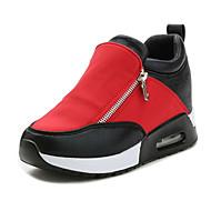 Damen High Heels Komfort Kunstleder Winter Normal Komfort Reißverschluss Flacher Absatz Schwarz Silber Rot Flach