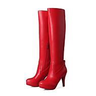 Feminino-Botas-Plataforma Botas da Moda-Salto Agulha Plataforma-Preto Vermelho Branco-Courino-Casual Festas & Noite