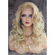 Naisten Synteettiset peruukit Lace Front Pitkä Runsaat laineet Vaaleahiuksisuus Luonnollinen hiusviiva Sivuosa Luonnollinen peruukki puku
