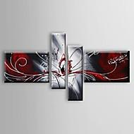 Maalattu Abstrakti / Asetelma öljymaalauksia,Moderni / Classic / European Style 4 paneeli Kanvas Hang-Painted öljymaalaus For
