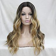 Naisten Synteettiset peruukit Lace Front Pitkä Laineikas Ruskea Liukuvärjätyt hiukset Tummat juuret Luonnollinen hiusviiva Keskijakaus