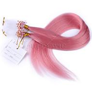 최고 품질의 핑크 색상 마이크로 루프 링 링크 처녀 직선 인간의 머리 페루 머리 마이크로 루프 링 붙임 머리
